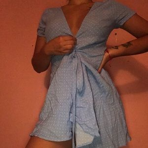 Baby blue with white polka dots dress 👗